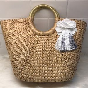 Handbags - Circle Handle Straw Tote Handbag